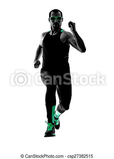 silhouette, läufer, rennender , jogger, jogging, mann - csp27382515