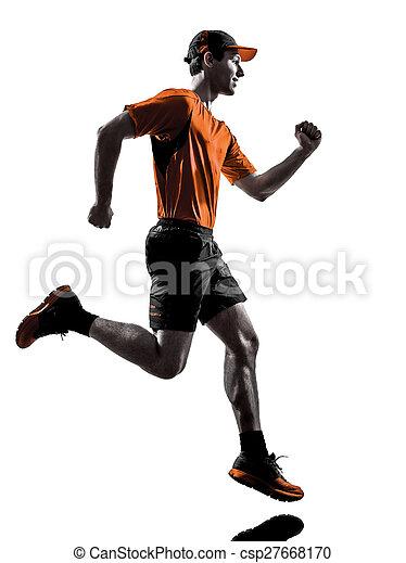 silhouette, läufer, rennender , jogger, jogging, mann - csp27668170