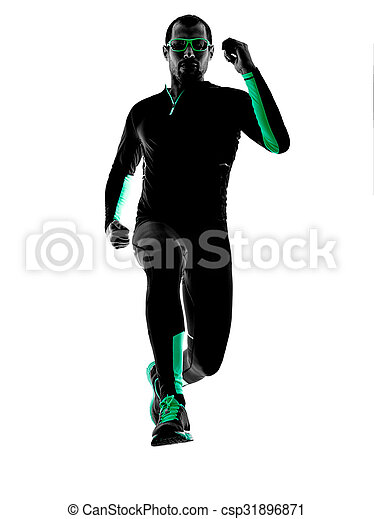 silhouette, läufer, rennender , jogger, jogging, mann - csp31896871