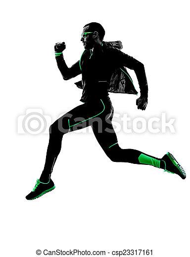 Mann Läufer joggen Jogger Silhouette - csp23317161