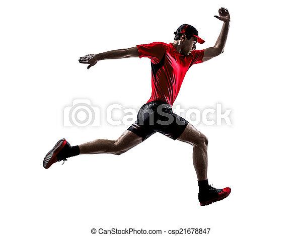 Läufer joggen, springende Silhouette - csp21678847