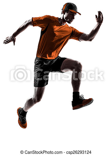 silhouette, läufer, rennender , jogger, jogging, springende , mann - csp26293124