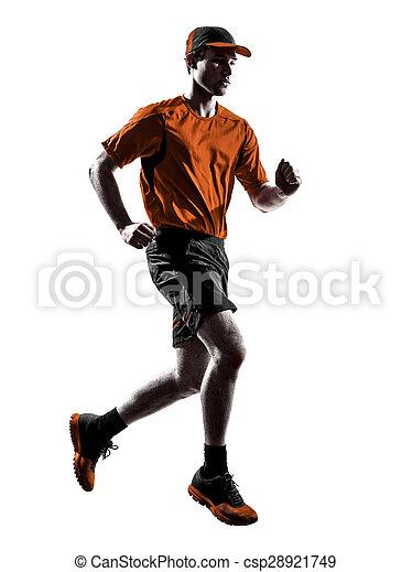 silhouette, läufer, rennender , jogger, jogging, mann - csp28921749