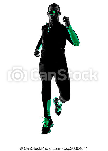 silhouette, läufer, rennender , jogger, jogging, mann - csp30864641