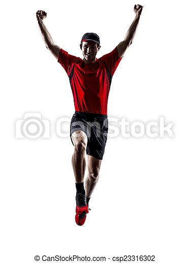 silhouette, läufer, rennender , jogger, jogging, springende  - csp23316302