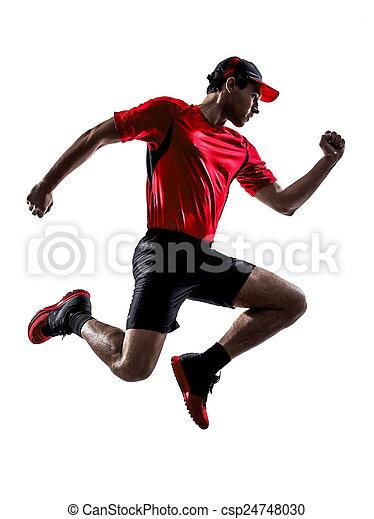 Mann Läufer joggen, springende Silhouette - csp24748030