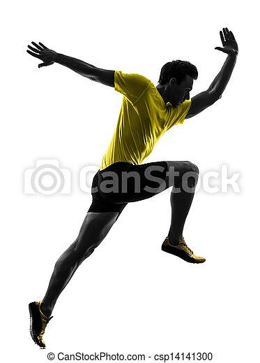 Junger Mann Sprinter Runner läuft Silhouette - csp14141300