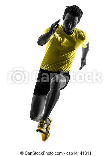 Junger Mann Sprinter Runner läuft Silhouette - csp14141311