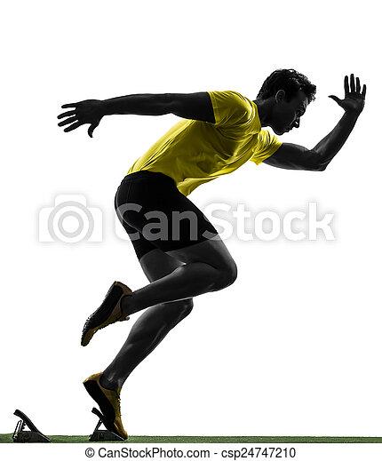 silhouette, läufer, sprinter, junger, blöcke, beginnen, mann - csp24747210