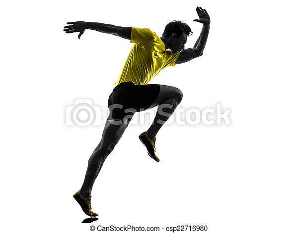Junger Mann Sprinter Runner läuft Silhouette - csp22716980