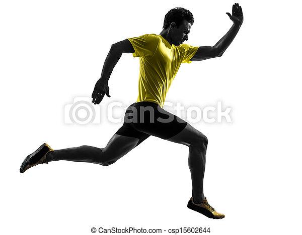 Junger Mann Sprinter Runner läuft Silhouette - csp15602644