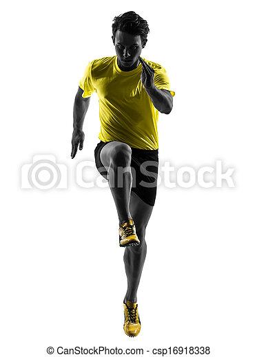 silhouette, läufer, sprinter, junger, rennender , mann - csp16918338