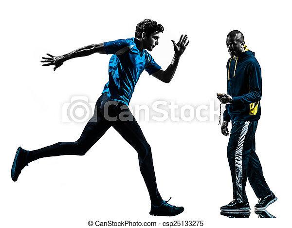 silhouette, läufer, sprinter, trainer, mann, stoppuhr - csp25133275
