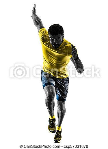 Man Läufer joggen isolierte Silhouette weiß zurück - csp57031878
