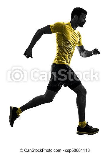 silhouette, läufer, zurück, freigestellt, rennender , jogger, jogging, weißes, mann - csp58684113