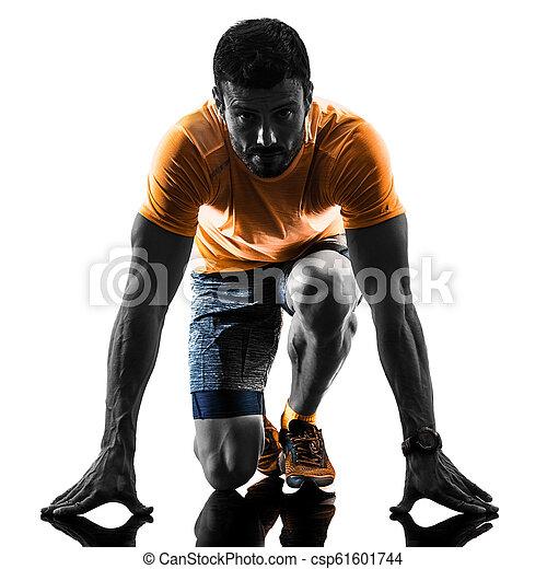 silhouette, läufer, zurück, freigestellt, rennender , jogger, jogging, weißes, mann - csp61601744