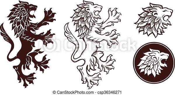 silhouette, leone, araldico - csp36346271