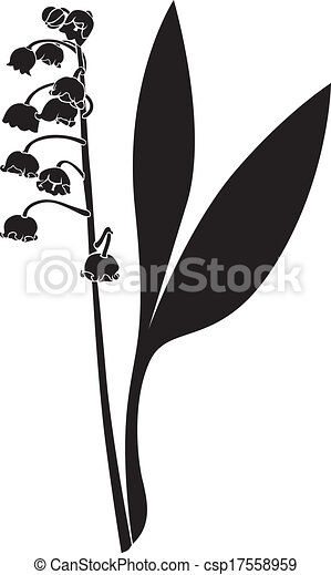 silhouette lily of the valley flower silhouette image clipart rh canstockphoto com flower silhouette vector png flower silhouette vector art