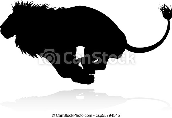 Line Art Lion : Silhouette lion a male safari animal in eps