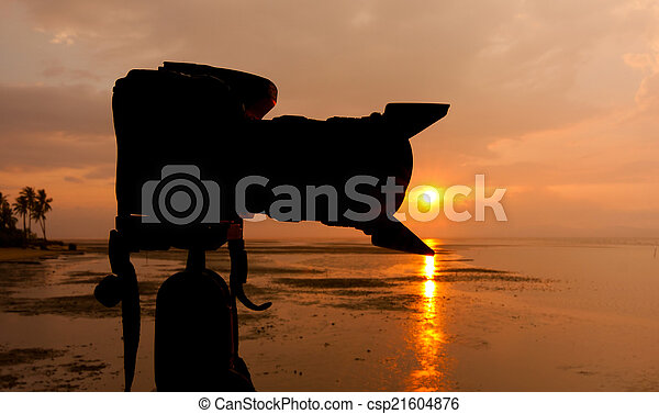 silhouette, macchina fotografica digitale - csp21604876