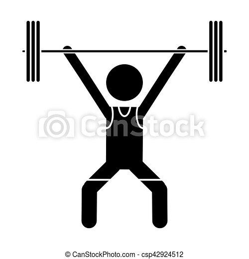 silhouette man weight lifter sport athlete - csp42924512