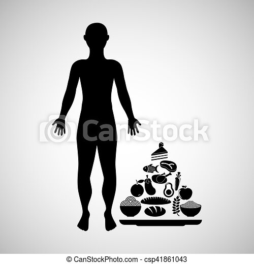 silhouette man with food pyramid icon - csp41861043