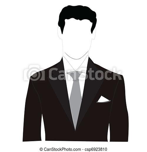 silhouette, mannen, zwart kostuum - csp6923810