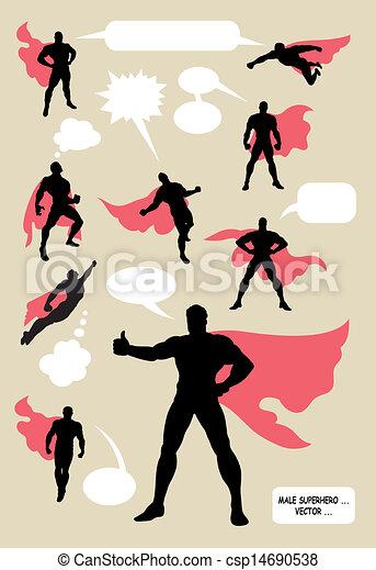silhouette, maschio, superhero - csp14690538