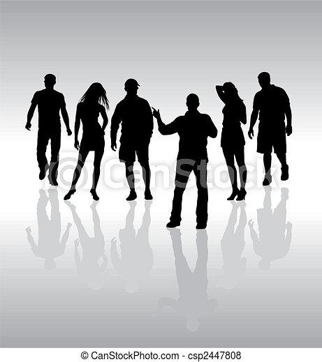 silhouette, mensen, vector, vrienden - csp2447808
