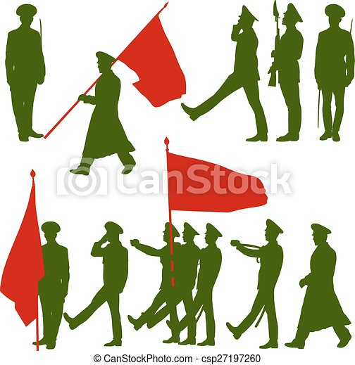 silhouette military people with flags collection vector clip art rh canstockphoto com military clipart silhouettes military clipart silhouettes