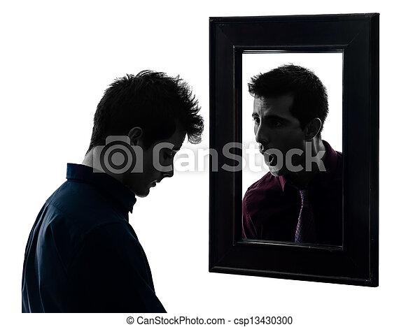silhouette, miroir, homme, devant, sien - csp13430300