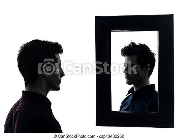 silhouette, miroir, homme, devant, sien - csp13430262