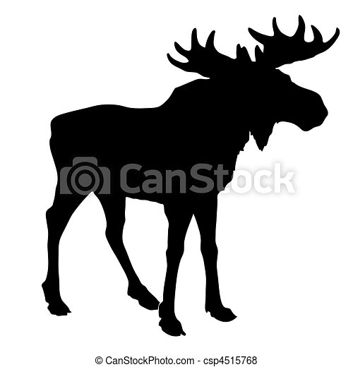 silhouette moose on white background - csp4515768