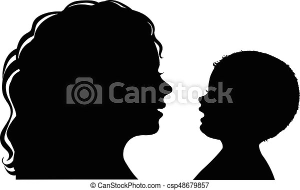 Silhouette Mother And Baby Black And White Silhouette Mother And Baby
