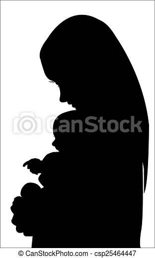 Silhouette mother with baby - csp25464447