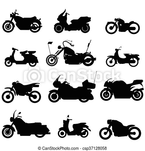 silhouette motorbike icons - csp37128058