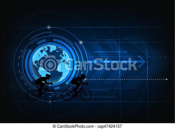 silhouette muslim man praying abstract blue background. - csp47424157