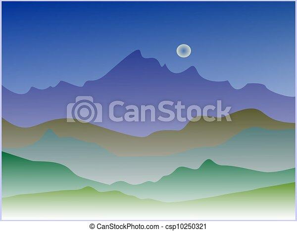 silhouette night landscape - csp10250321
