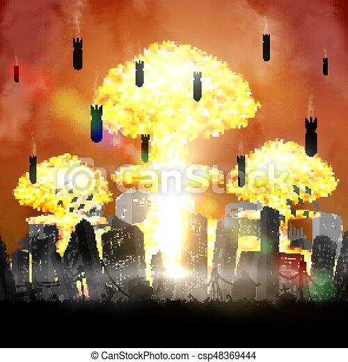 silhouette nuclear bomb over city ruined building - csp48369444
