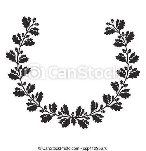 vector oak leaf frame black silhouette isolated