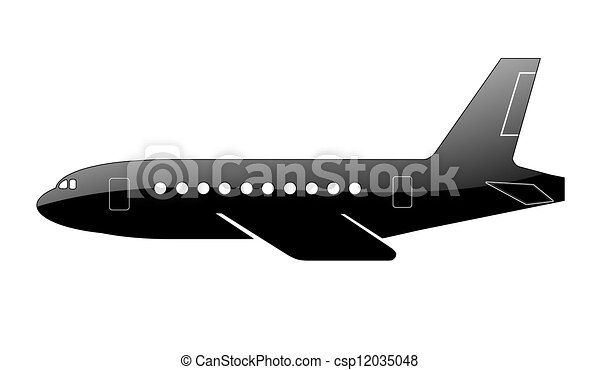 Silhouette of a aircraft. - csp12035048