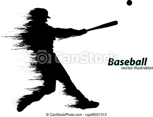 silhouette of a baseball player vector illustration silhouette of rh canstockphoto com Flaming Baseball Vector baseball player vector free download