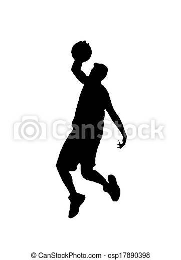 silhouette of a basketball player - csp17890398