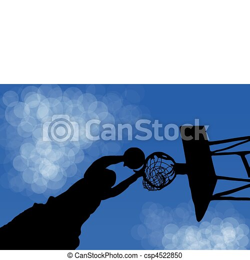 Silhouette of a basketball Ring in the game - csp4522850