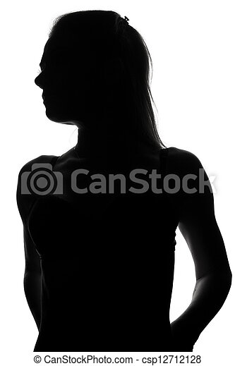 silhouette of a beautiful girl in erotic lingerie - csp12712128