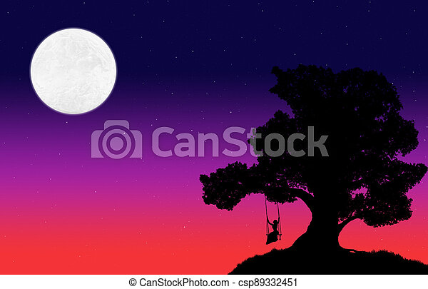 silhouette of a big tree and a woman on a swing against the background of the evening sky with stars and moon - csp89332451