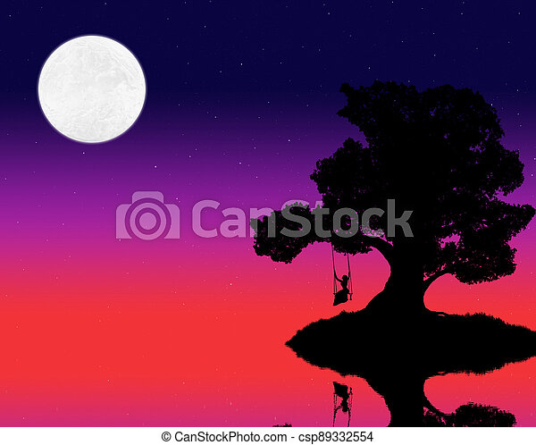 silhouette of a big tree and a woman on a swing against the background of the evening sky with stars and moon - csp89332554