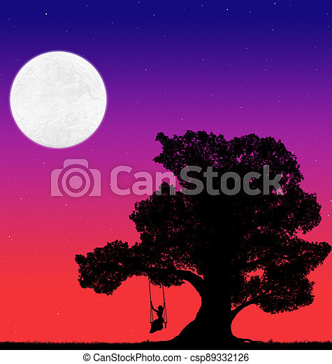 silhouette of a big tree and a woman on a swing against the background of the evening sky with stars and moon - csp89332126