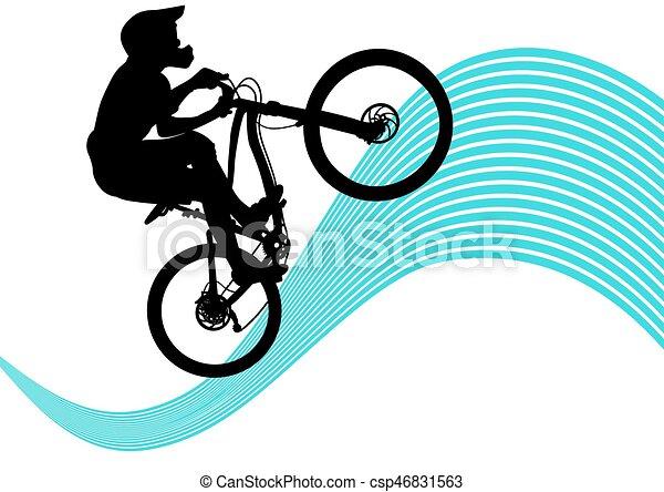 Silhouette Of A Biker Descending On Mountain Bike Slope