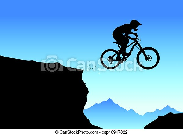 silhouette of a biker jumping from mountain ledge vector